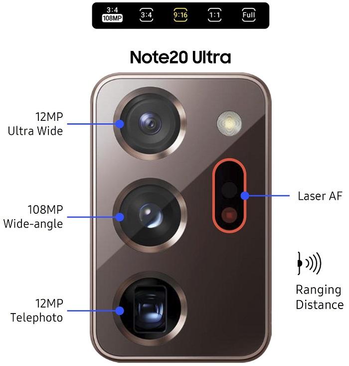 مشخصات دوربین نوت 20 ultra