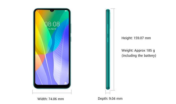 اندازه و ابعاد گوشی y6p Huawei
